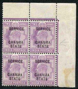 Chamba SG27 KEVII 2a Block inc ICHAMBA VARIETY U/M Stated from the 1908 Printing