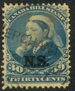 CANADA NOVA SCOTIA 1868 QV 30c BILL STAMP REVENUE VDM. NSB13 USED
