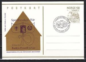 Norway, 1982 cancel. 75th Scout Anniversary on Postal Card. First day cancel. ^