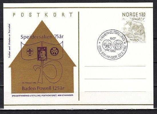 Norway, 1982 cancel. 75th Scout Anniversary on Postal Card. First day cancel.