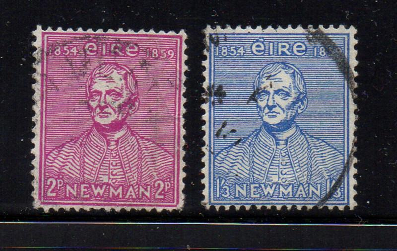 Ireland Sc 153-4 1954 Catholic University Cardinal Newman stamp set used