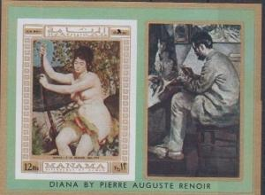 Manama MNH S/S Renoir Nude Woman Painting Art Imperf.