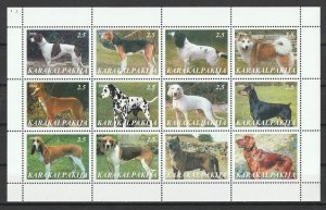 KarakalpAkia MNH S/S Gorgeous Dogs 12 Stamps 2000