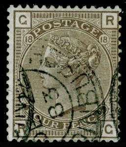 SG160, 4d grey-brown plate 18, USED. Cat £75. RG