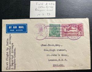 1933 Rangoon Burma India First Flight Airmail cover FFC To London England