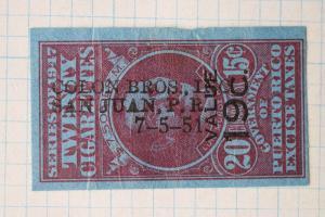 Puerto Rico 1951 value 19c surcharged 20/15c cigarette tax Colon Bros Inc  DL