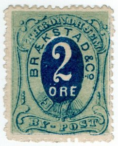 (I.B-CK) Norway Local Post : Trondheim 2 Ore (Braekstad & Co)