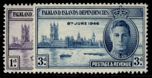 FALKLAND ISLANDS - Dependencies GVI SG G17-G18, victory set, M MINT.