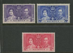Mauritius - Scott 208-10 - Coronation Issue -1937 - MVLH - Set of 4 Stamp