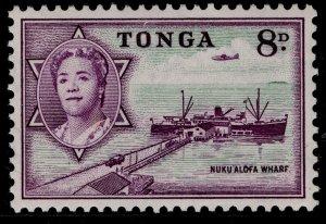 TONGA QEII SG109, 8d emerald & deep reddish violet, NH MINT.