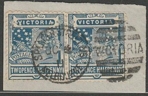 VICTORIA 1911 2½d pair with S&A perfin used on piece........................A346