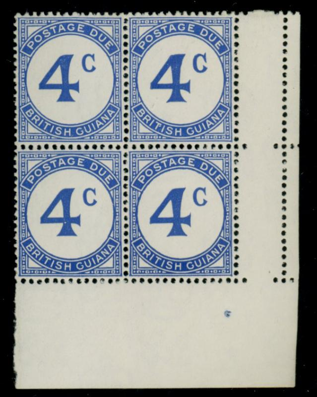 British Guiana #J3a MINT Block Error wmk4a F-VF OG NH Cat$500