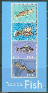 PALAU  2013 TROPICAL FISH  SHEET OF FOUR MINT NH