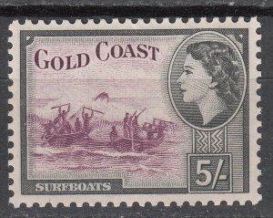 Gold Coast - 1952 QEII 5sh Sc# 158 - MNH (7026)