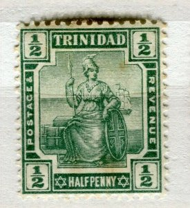 TRINIDAD; 1913 early Britannia issue Mint hinged 1/2d. value