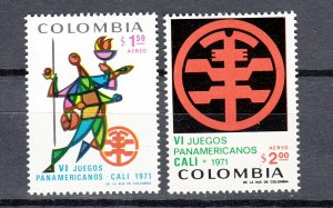 J26944 1971 colombia mh set #c542-3 sports