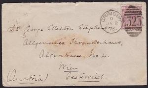 GB 1875 2½d plate 2 on cover GRIMSBY to Vienna, Austria.....................6405