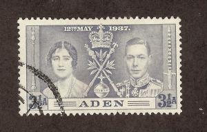 ADEN SC# 15 F-VF U 1937 3 1/2 Annas