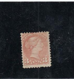 CANADA (KSG264) # 37b F-MH 3cts QV SMALL QUEEN / INDIAN RED CAT VALUE $1000