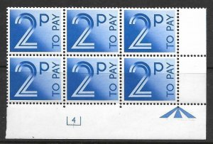 D91 2p 1982 Decimal Postage Due Cyl 4 UNMOUNTED MINT