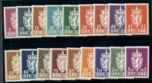 NORWAY #O65-82, Official Set complete, og, NH, VF Scott $67.45