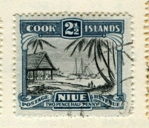 NIUE; 1932 early pictorial issue used Wmk 2.5d. value