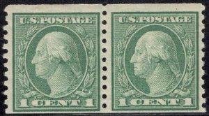 US Stamp #452 Coil Pair 1c Washington MINT NH SCV $55