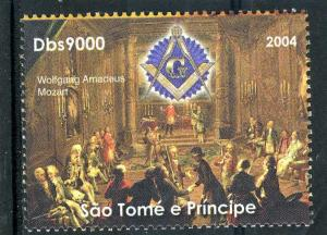 Sao Tome & Principe 2004 MOZART FREEMASONRY Set 1v Perforated Mint (NH) #1