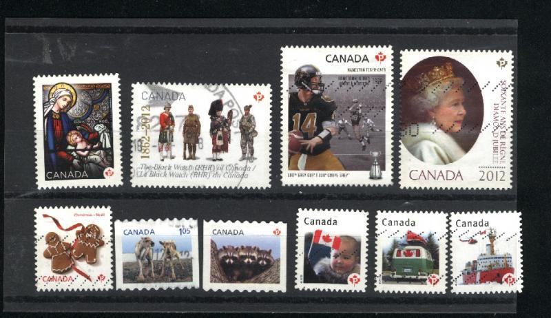 Canada #2499, 500, 2503, 2506, 2507,2519,  2574, 2582, 2583  u  2012  PD