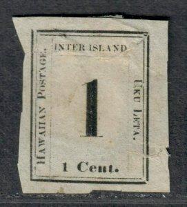 $Hawaii Sc#15 Mint no gum, faults Pos 7 Crowe cert. Cv. $650