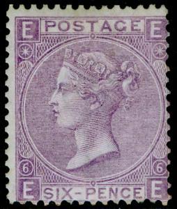 SG107, 6d bright violet plate 6, LH MINT. Cat £1800. EE