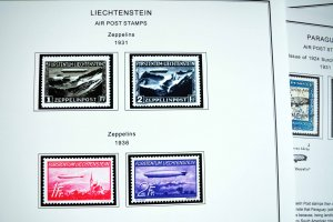COLOR PRINTED ZEPPELIN AIRMAIL 1928-1936 STAMP ALBUM PAGES (30 illustr. pages)
