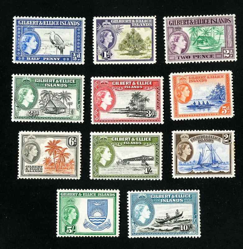 Gilbert & Ellice Stamps # 61-72 VF OG LH Set of 12 Scott Value $62.25