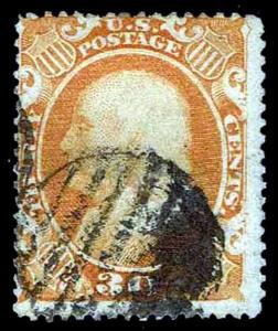 US.#38 USED REGULAR ISSUE OF 1860 - GRID CANCEL- FINE - $425.00 (ESP#0136)
