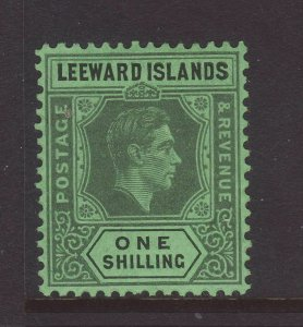 1942 Leeward Is 1/- Grey & Black on Emerald Mounted Mint SG110ba
