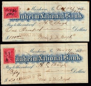 US STAMP #R155 2c 1898 Revenue Stamp on Bank Paper X 2