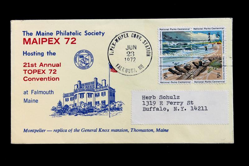 US Stamp Sc# 1448-1451 Early Use on Maine MAIPEX 72 TOPEX Convention