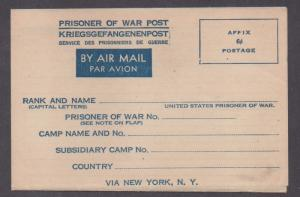 **US WWII Prisioner of War Airmail Postal Stationery Cover, Unused, NICE!!