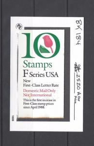US Scott # BK184 / 2520A  F Rate .29 - TULIP  BOOKLET OF 10 MNH