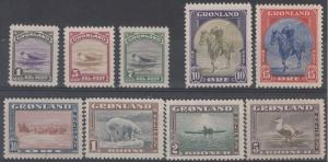 Greenland Scott 10-18 Mint hinged (Catalog Value $225.00)