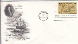 1970, 300th Anniv. English Settlement in South Carolina, Artcraft, FDC (D14788)