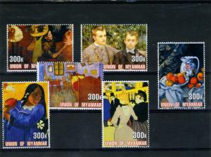 Union of Myanmar 2001 French Paintings Set (6v) Perforated mnh.vf