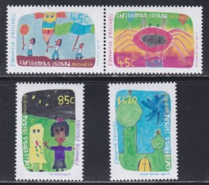 Christmas Island # 419a, 420-421, Children's Drawings, NH, 1/2 Cat.