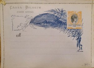 A) 1897, BRAZIL, POSTAL STATIONARY, LIBERTY HEAD, SHIFTED COLOR