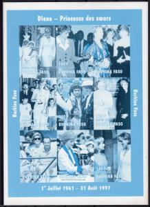Burkina Faso 1997 Sc#1127A DIANA PRINCES/POPE JOHN PAUL II Sheetlet BLUE PROOF