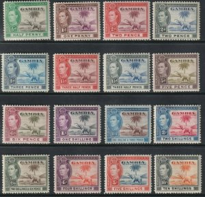 Sc# 132 / 143 Gambia 1938 - 1946 KGVI / Elephant complete set ML-MH CV $99.40