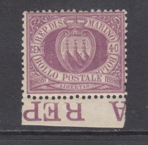 San Marino Sc 17 MLH. 1877 40c Coat of Arms w/ bottom selvage, APEX Cert.