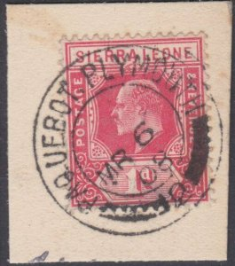 SIERRA LEONE 1908 EVII 1d on piece PAQUEBOT / PLYMOUTH cds.................29992