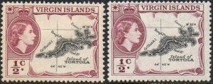 British Virgin Islands 1956 & 1960 ½c Map of Tortola (both shades) MH