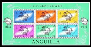ANGUILLA - 1974 - UPU CENTENARY - MAP - EMBLEM - 6 X MINT - MNH S/SHEET!